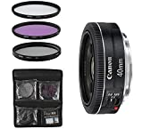 Canon Objektiv - EF 40mm 1:2.8 STM - Festbrennweite für Spiegelreflexkameras + 3-Teiliges Filterset UV, FLD, CPL - Schwarz