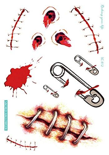 JUNGEN 2PCS Halloween Wasserdichte Tattoo Halloween Spielzeug Horror Wound Scar Horror (Streich Halloween Kostüm)