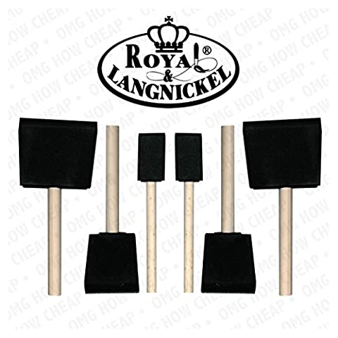 Royal and Langnickel 6 Art Foam Brush Set - 2 x 1 inch, 2 x 2 inch and 2 x 3 inch by Royal &
