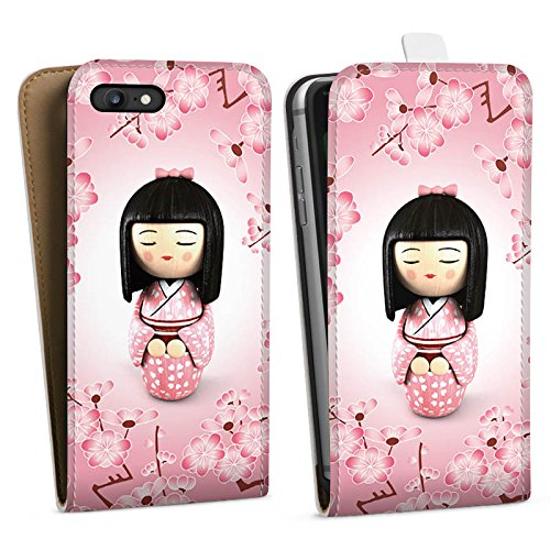 Apple iPhone X Silikon Hülle Case Schutzhülle Sakura Kokeshi Puppe Asien Downflip Tasche weiß