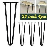28'Hairpin Tischbeine, Schwarz, 71cm, modern, Metall, 3-rod, Antik-Stil, zum Basteln, für Möbel, Tisch, 4Stück