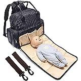 BabyMoon 5 In 1 Polka Dotes Waterproof Diaper Bag (Jet Black)