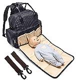 #4: BabyMoon 5 In 1 Polka Dotes Waterproof Diaper Bag (Jet Black)
