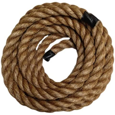 RopeServices UK 35 Metres X 20Mm Grade 1 Natural 3 Strand Manila Rope,Gardens,Decking,Diy by RopeServices UK