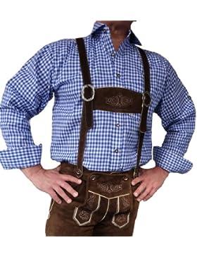 Trachtenhemd Langarm blau-weiss zur Lederhose Oktoberfest