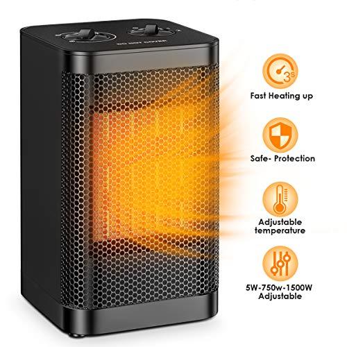 Riscaldatore di Spazio Portatile Qoosea Mini Riscaldatore Elettrico per ufficio domestico 1500 W Piccolo Ventilatore Silenzioso per Riscaldamento Rapido con Termostato Regolabile Riscaldatore