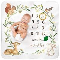 Bubzi Co Baby Monthly Milestone Blanket   Baby Girl Gifts & Baby Boy Gifts   Watch Me Grow Woodland Nursery Décor   European Design   Gender Neutral Baby Shower Gifts for Newborn Girl & Boy