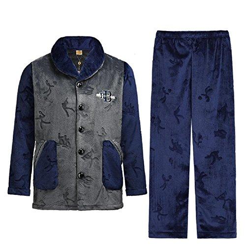 GJX Spessa Coral Fleece manica lunga pigiama di flanella caldo