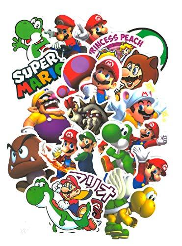 ⭐Top Aufkleber !⭐ Set von 99 Super Mario Bros Aufkleber Premium Qualität - Vinyls Stickers Nicht Vulgär - Luigi, Toad, Peach, Wario, Browser - Anpassung Laptop, Gepäck, Moto, Fahrrad, Skate