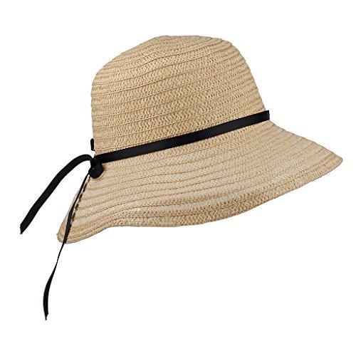 LUX Zubehör Stroh Hut schwarz Schleife Breit Krempe Fedora Floppy Cloche Derby Sun Hat Cap