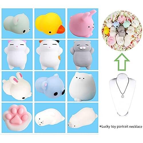 juguetes kawaii 12Pcs Mini Kawaii suave Cat pollo cierre elástico Squishy juguete con caja mochi Squeeze Toy Stress Reliever