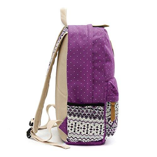 OURBAG Tela Casuale Zaino Borse a tracolla Portafoglio Set 3PCS per le donne Azzurro Viola