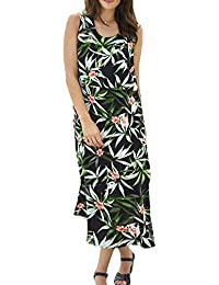 TopsandDresses Ladies Black Green Leaf Sleeveless Long Dress In UK Sizes 8-36 (eu36-62)