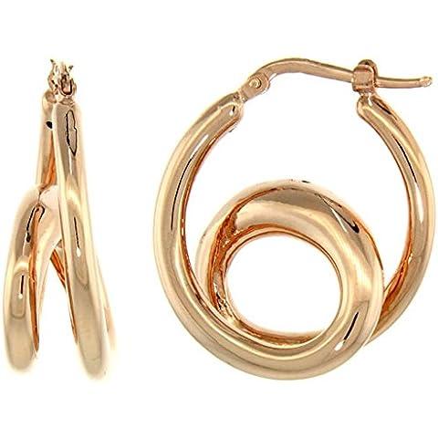Revoni-Collana in argento Sterling in rilievo Italiano-Orecchini a doppio anello con finiture in oro rosa, 1 1/16 in., 26 mm - Oro Collana In Rilievo