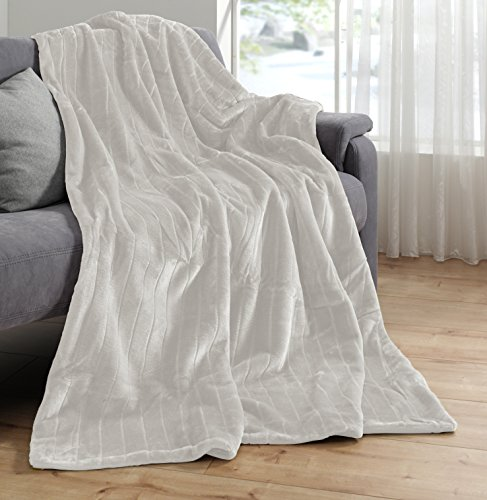 Haute Qualité Plaid Imitation Fourrure, blanc crème, Plaid 150X 200Vison Couverture plaid couvre-lit Fausse Fourrure