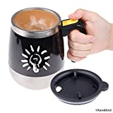 Self Stirring Coffee Mug - Automatic Mixing Stainless Steel Cup - to stir Your Coffee, Tea, hot Chocolate, Milk, Protein Shake, Bouillon, etc. - Ideal for Office, School, Gym, Home - 400 ml / 13.5 oz