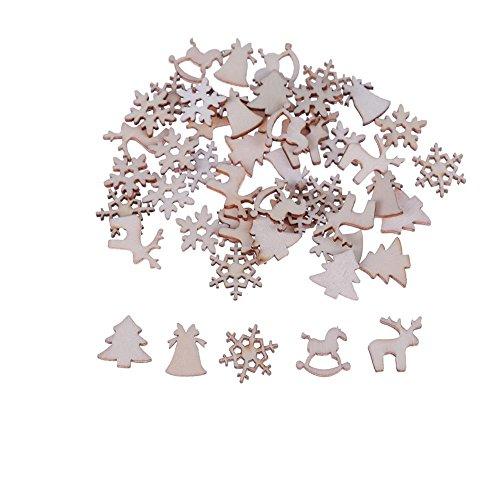 YouN 50pcs Christmas Decor Xmas Wood Chip Tree...