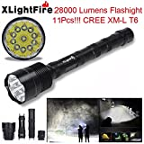 XLightFire Lampe de poche,Internet 28000 Lumens C15 Tactical LED 11x CREE XM-L T6 lampe de poche 18650 Super Bright militaire de grade étanche titulaire Torche 5 Modes