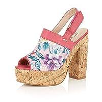 HeelzSoHigh Ladies Dolcis Viennese Pink Peep-Toe Sandals Clog Wedge Platform Pumps Shoes Sizes 3-8