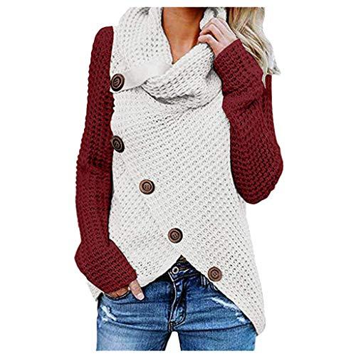 iHENGH Damen Herbst Winter Übergangs Warm Bequem Slim Lässig Stilvoll Frauen Langarm Solid Sweatshirt Pullover Tops Bluse Shirt(A Wein, L)