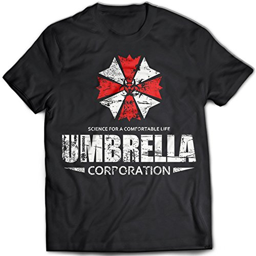 9326 Umbrella Corporation Uomo T-Shirt Resident Evil Racoon City Stars Corp Sci-Fi Horror(Medium,Black)
