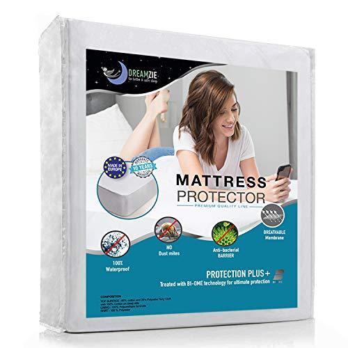 Dreamzie Protector de Colchón Impermeable, Transpirable, Hipoalergénico, Anti-Ácaros, Antibacteriano, Anti-moho, 90 x 190 cm