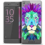 Caseink - Coque Housse Etui pour Sony Xperia XA [Crystal HD Polygon Series Animal - Rigide - Ultra Fin - Imprimé en France] - Lion