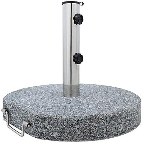 Sonnenschirmständer Granit Schirmständer Sonnenschirmhalterung Edelstahl, 30 kg rund Ø 45