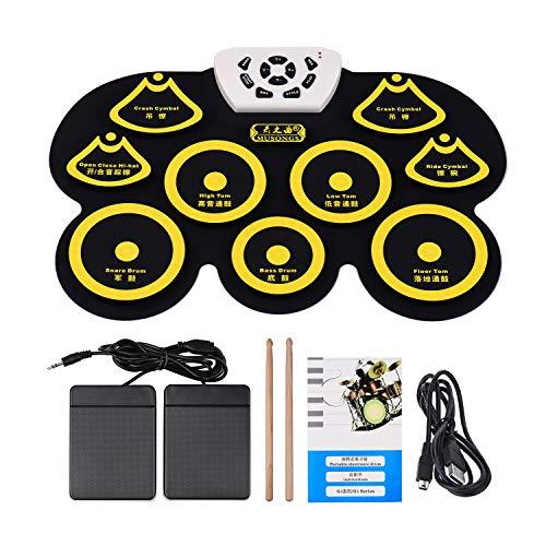 Andoer Tamburo Elettronica in Silicone Entrollable Midi USB Portable Digital Pieghevole Kit Per Cuscino Con Anse e pedale del piede giallo