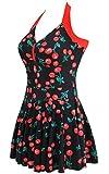 ALICECOCO Damen Plus Size One Piece Swimdress Skirted Badeanzug Badeanzüge (EU 42-44 ( 4XL ), Cherry)