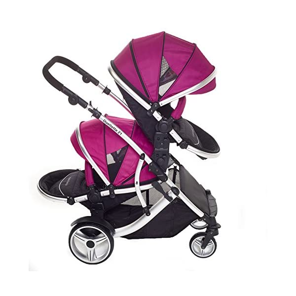 Duellette 21 BS Twin Double Pushchair Stroller Buggy (Raspberry) Brand New Colour Range! Kids Kargo Suitability Newborn Twins (if used with car seats) or Newborn/toddler. Various seat positions. Both seats can face mum (ideal for twins) Accommodates 1 or 2 car seats 3