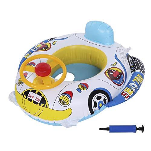 Hztyyier Aufblasbare Baby Pool Float mit Pumpe Inflator Kleinkinderschwimmring Boot niedlichen Cartoon Auto Float mit Horn (Float Inflator)
