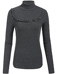 ff3b69737f093f Plunge Damen Elegant Feinstrick-Pullover Pulli Rollkragen Strickpullover  Basic Langarm Shirt Tops