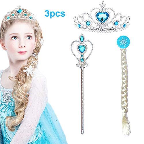 CQDY Prinzessin ELSA Anzieh Halloween Party Zubehör 3 Set Tiara Krone Perücke Zauberstab für Mädchen
