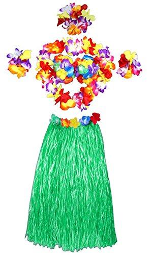 Oyfel Hawaiian Hula Gras Rock Fancy Flower Leis Set Kostüm Elastic Blume Armbänder Stirnband Halskette Luau Beach Party Gastgeschenken Mädchen Frauen, Grün, 60 cm
