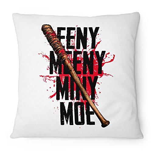 Fashionalarm Kissen Eeny Meeny Miny Moe - 40x40 cm mit Füllung   Geschenk Idee für Fans der Serie T-W-D   Dead Walking Lucille Baseballschläger, Farbe:weiß