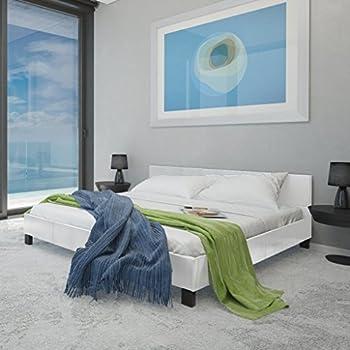 vidaXL Lit blanc en cuir artificiel 180 cm avec matelas à mémoire de forme