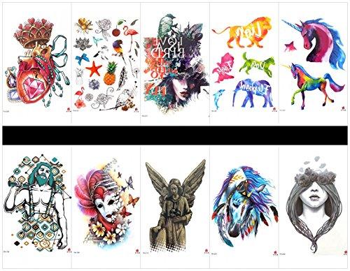 Grasshine 10pcs tätowieren Pferd temporäres tatoo in a-Pakete, einschließlich Tier, Hund, Pferd, Löwe, Fisch, Adler, Schmuck, Früchte, Vögel, Frauen, Mann, Frau mit Schmetterlingen, Engel, usw.