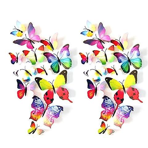 Eizur 24pcs Stickers Muraux de Papillons 3D Mural Autocollants Bricolage Aimant Papillon Amovible Réutilisable Art Design Pour Chambre Salon Décorations Cadeau--Arc en ciel