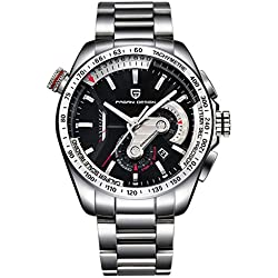 Elenxs Men's Quartz Watches Sports Running in Seconds Wrist Watch white steel band&black dial