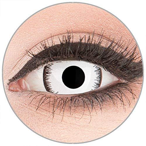 Farbige Kontaktlinsen zu Fasching Karneval Halloween in Topqualität von 'Glamlens' ohne Stärke 1 Paar Crazy Fun Mini Scleara weiße 'Lunatic' 17 mm (Farbige Halloween Kontaktlinsen Kaufen)