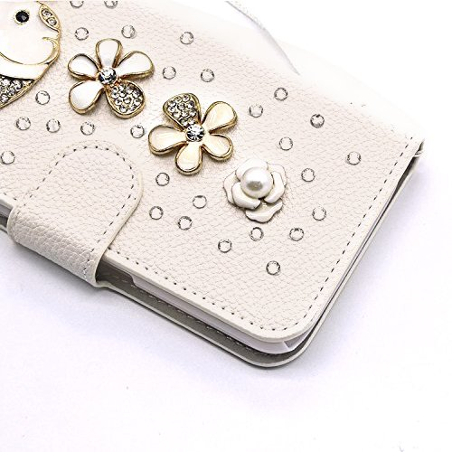 3D Coque iPhone 8 Plus Housse Étui 3 en 1 PU Cuir Case, Vandot Luxe Brillant Diamant Coque Bling Bling Cristal Strass Cover Motif Ange Elf Couverture Magnetic Flip avec Support Stand Wallet Case pour  Diamant 22