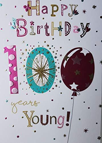 Cherry Stuhl (Glückwunschkarte zum 100. Geburtstag, Karte für Damen, Motiv: Stuhl, mit vers auf der Innenseite, Schriftzug in englischer Sprache)