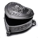 Unendlich U Luxus Prinzessin Schmuckbox mit Vintage Style Antique klein Herz und liebe Rose mit Schmuckkästchen für Damen/Mädchen,Reines Zinn-Schmuckstück,Silber