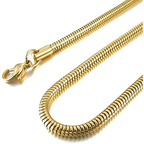 MunkiMix 4.0mm Ancho Acero Inoxidable Collar Serpiente Snake Cadena Eslabones Link Enlace Oro Dorado Hombre
