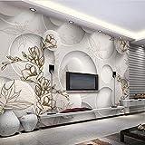 Benutzerdefinierte Fototapete 3D Stereo Magnolia Kreis Wandbild Tapete Wohnzimmer Sofa Tv Hintergrund Moderne Nahtlose Wandverkleidung