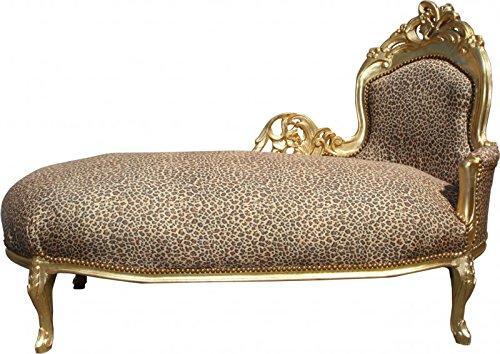 Casa Padrino Barock Chaiselongue 'King' Leopard/Gold Mod2 - Recamiere Liege Leoparden Look