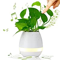 Music Flowerpot, BOLWEO LED Flowerpot Smart Touch Music Plant Lamp with Wireless Bluetooth Speaker Piano Music Playing Flower Pots Multi-color LED Night Light for Bedroom,Office,Living Room (White)