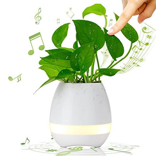 Musik Blumentopf, BOLWEO LED Blumentopf Smart Touch Musik Pflanze Lampe mit Wireless Bluetooth Lautsprecher Klavier Musik Spiel Blumentöpfe Mehrfarbige LED Nachtlicht für Schlafzimmer, Büro, Wohnzimmer (Weiß)