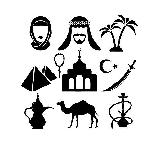 wandaufkleber kreise Indian Features Arabisch Shisha Schwert Rauch für Wohnzimmer Schlafzimmer